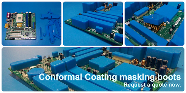 Various examples of a printed circuit board masked with conformal coating masking boots.