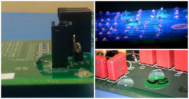 Nano-coatings protect circuit boards but do not require masking