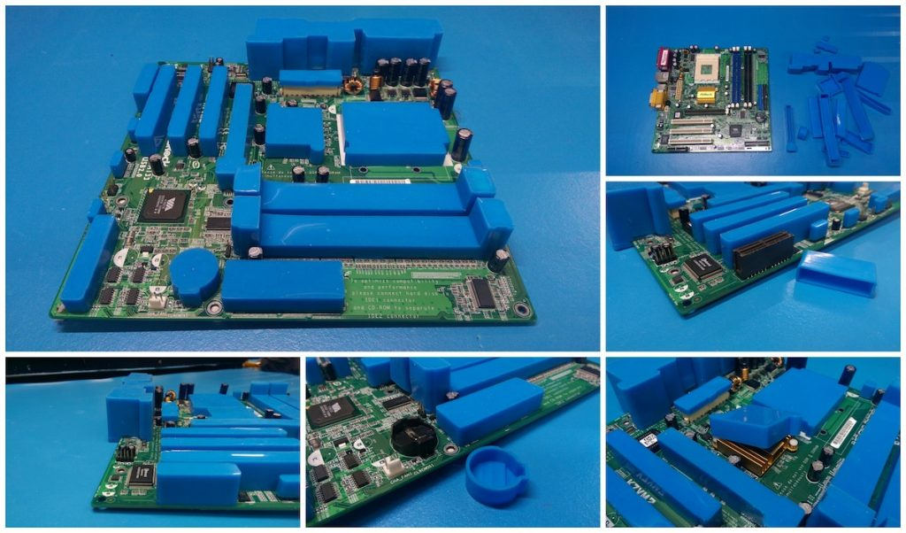 Conformal coating masking boots can replace other materials like tape, dots and latex in the production process for both Parylene and conformal coatings.